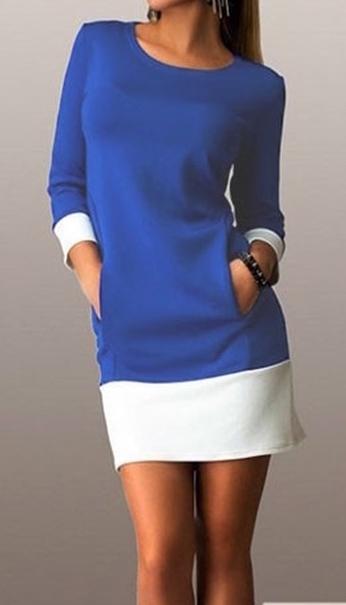 Kleid blau oder weis