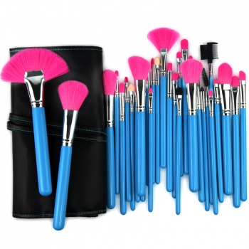 "32 tlg. Kosmetik Professionelles MAKEUP Pinsel Set ""Glamour Blue"" Pinselset Brush Set inkl. Etui Kosmetikpinsel"
