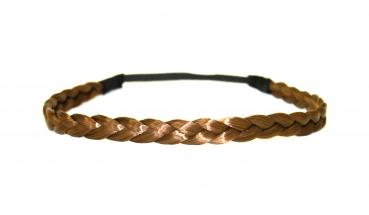 Geflochtenes Haarband elastisch schwarz-braun doppelt bzw 2-fach Zopf