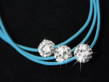 "Damen-Halskette Shamballa Kette Lederhalskette 3 Strass Kugeln Silber /""sky/"" NEU"