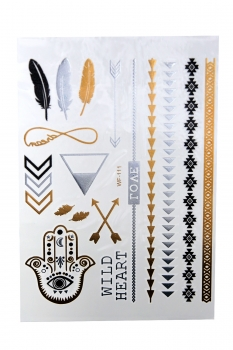Metallic Tattoos von der Marke MyBeautyworld24 in verschiedenen Designs Flash Tattoos Body Tattoo Armband Halskette Körperschmuck WF-111