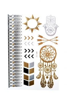Metallic Tattoos von der Marke MyBeautyworld24 in verschiedenen Designs Flash Tattoos Body Tattoo Armband Halskette Körperschmuck WF-112