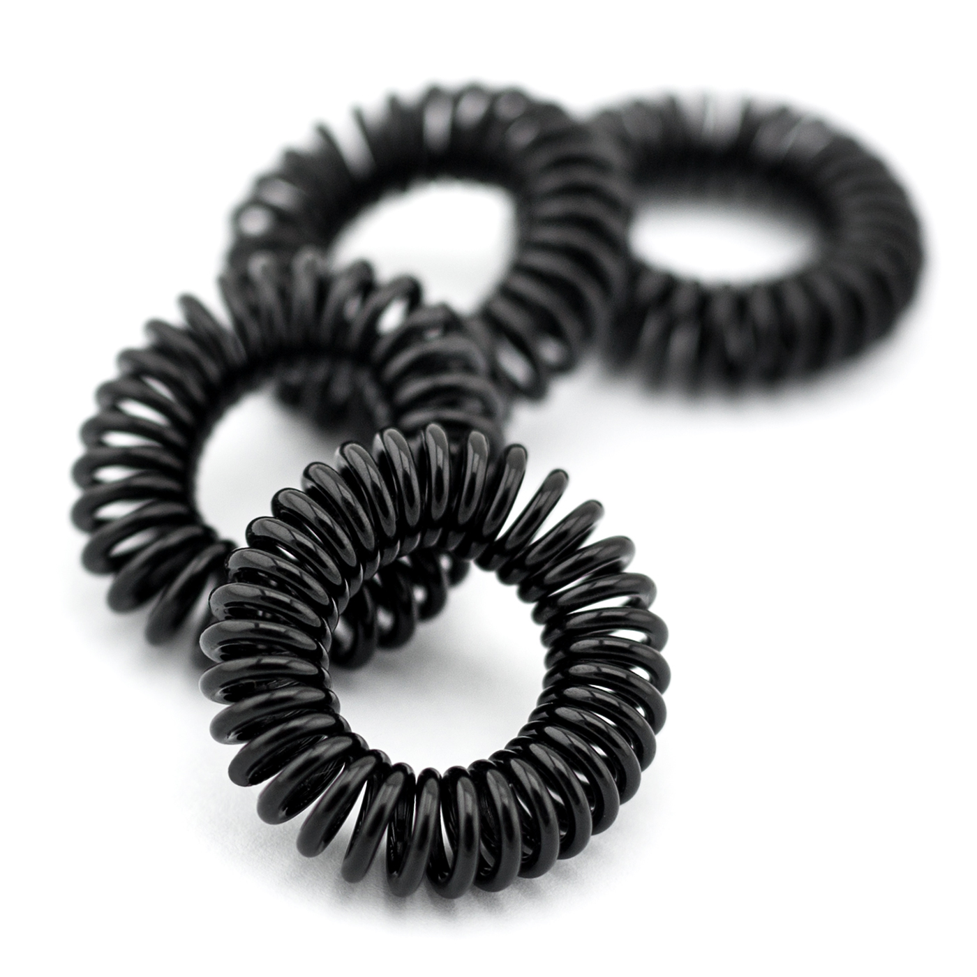 Haargummi schwarz elastisch 4er Set ,Telefonkabel Kunststoff-Spirale