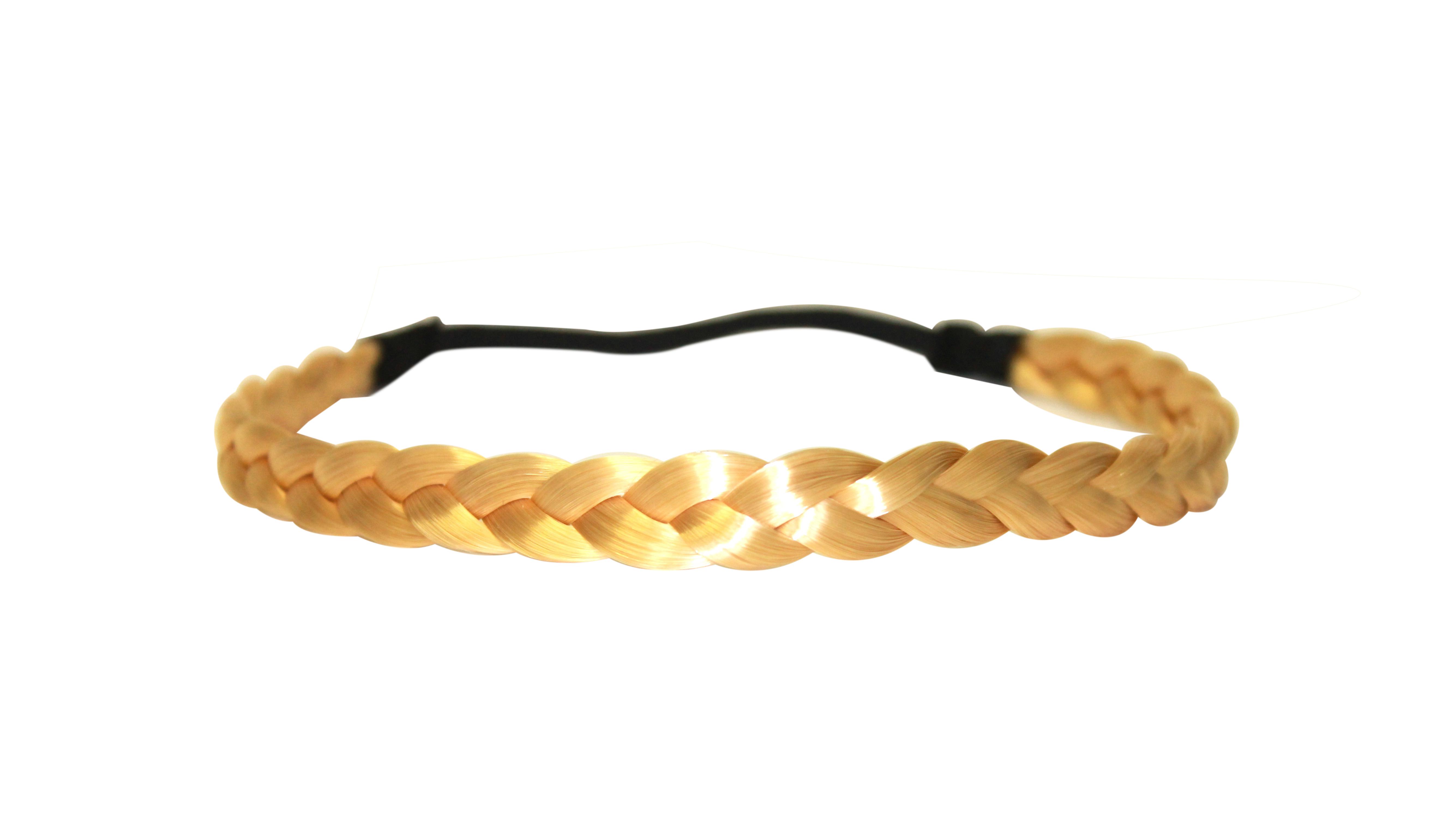 958078a7e6bb6c Haarband geflochten Zopf elastisches Haarband Haaraccessoire Haarteil  Stirnband Extensions Kunsthaar in goldblond