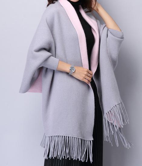 d188a4f7b148c1 Frauen Kaschmir Poncho Strickjacke Strickpullover Mantel Schal Winter  Pullover Oversize Schal Poncho mit Ärmeln in grau