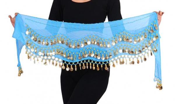 Belly Dance Handkette Armband Handschmuck Armbänder goldfarbene Münzen hellblau